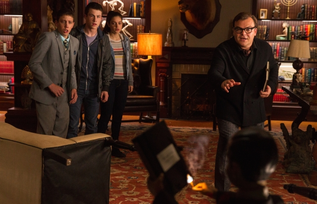 "L-r, Ryan Lee, Dylan Minnette, Odeya Rush and Jack Black star in Columbia Pictures' ""Goosebumps."""